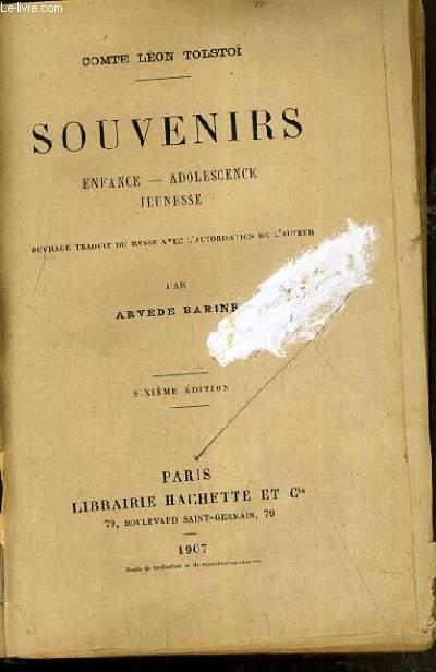SOUVENIRS : ENFANCE - ADOLESCENCE - JEUNESSE /  6ème EDITION.