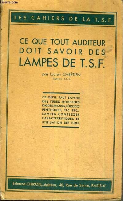 CE QUE TOUT AUDITEUR DOIT SAVOIR DES LAMPES DE T.S.F.