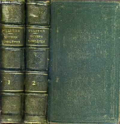 OEUVRES COMPLETES DE MOLIERE - NOUVELLE EDITION - LA SEULE COMPLETE EN 2 VOLUMES IN-12 - TOME 1 et 2.
