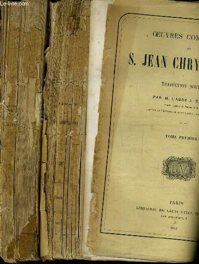 Oeuvres completes de s jean chrysostome - 10 tomes - de 1 à 10 - incomplet