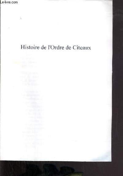 HISTOIRE DE L'ORDRE DE CITEAUX