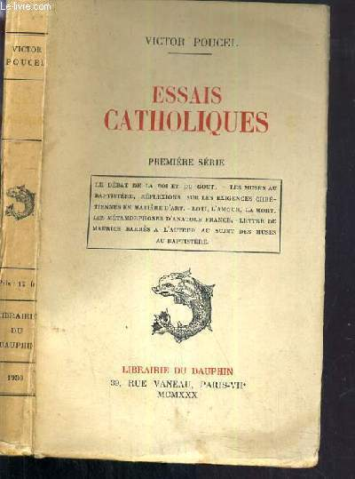 ESSAIS CATHOLIQUES - PREMIERE SERIE