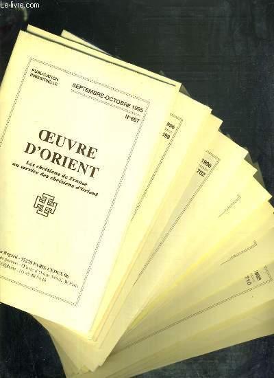 OEUVRE D'ORIENT - 18 LIVRETS - DU N°697 à 714 - DE SEPT/OCT. 1995 à JANV./MARS 1999.