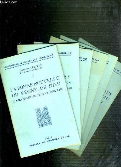 CONFERENCES DE NOTRE-DAME - CAREME 1938 - DU I à VI.