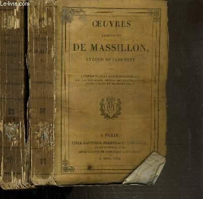 OEUVRES COMPLETES DE MASSILLON - EVEQUE DE CLERMONT - CONFERENCES ET DISCOURS SYNODAUX SUR LES PRINCIPAUX DEVOIRS DES ECCLESIASTIQUES INSTRUCTIONS ET MANDEMENTS - 2 VOLUMES - I + II.