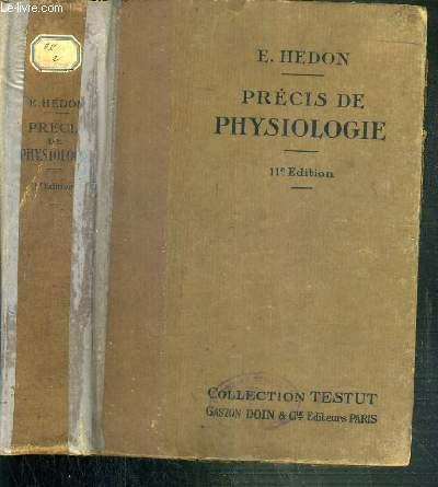 PRECIS DE PHYSIOLOGIE / COLLECTION TESTUT - 11ème EDITION