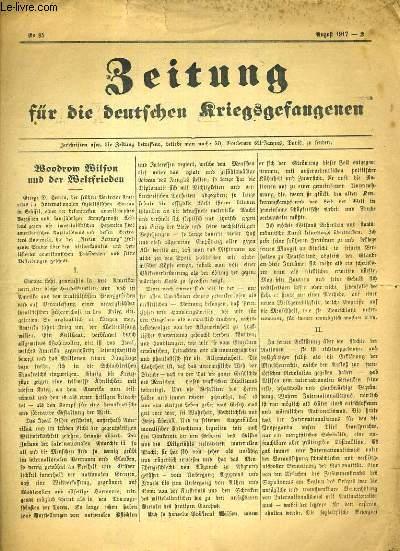 BEITUNG FUR DIE DEUTSCHEN KRIEGSGEFANGENEN - N°95 - AUGUST 1917 - TEXTE EXCLUSIVEMENT EN ALLEMAND.