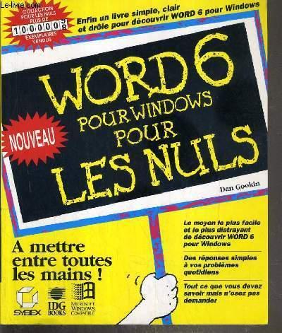 WORD 6 POUR WINDOWS POUR LES NULS