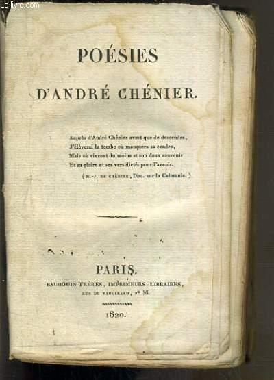 POESIES D'ANDRE CHENIER - VENDU EN ETAT.