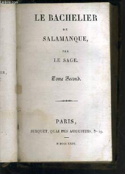 LE BACHELIER DE SALAMANQUE - TOME SECOND