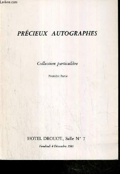 CATALOGUE DE VENTE AUX ENCHERES - PRECIEUX AUTOGAPHES - COLLECTION PARTICULIERE - NOUVEAU DROUOT - 4 DECEMBRE 1981