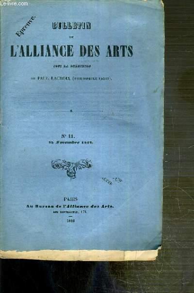 BULLETIN DES ARTS - N°11 - 25 NOVEMBRE 1842 - vente des dessins du cabinet de M. Villenave - bibliophiles du XVIIIe siecle - Turgot et D'Aguesseau III....