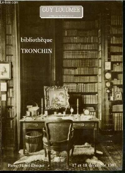 CATALOGUE DE VENTE AUX ENCHERES - BIBLIOTHEQUE TRONCHIN - 17 ET 18 DECEMBRE 1987 - HOTEL DROUOT