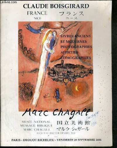 CATALOGUE DE VENTE AUX ENCHERES - LIVRES ANCIENS ET MODERNES - PHOTOGRAPHIES AFFICHES LITHOGRAPHIES DIVERS - 28 SEPTEMBRE 2001 - DROUOT RICHELIEU