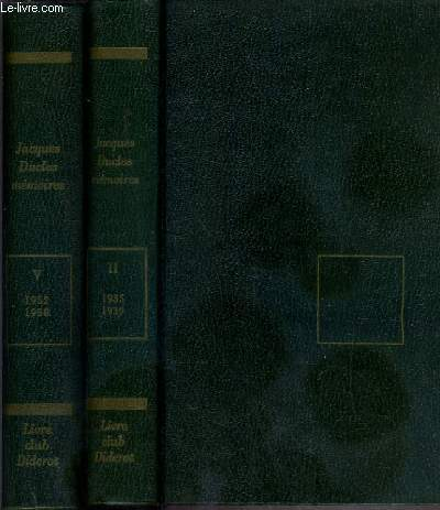 MEMOIRES - 2 TOMES - II + V / TOME II. 1935-1939 - TOME V. 1952-1958 - COLLECTION C'ETAIT AINSI