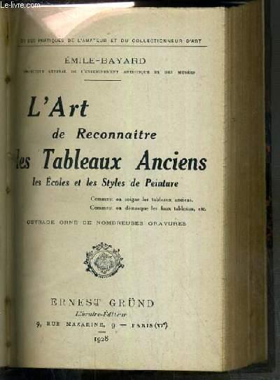 L'ART DE RECONNAITRE LES TABLEAUX ANCIENS LES ECOLES ET LES STYLES DE PEINTURE / GUIDES PRATIQUES DE L'AMATEUR ET DU COLLECTIONNEUR D'ART
