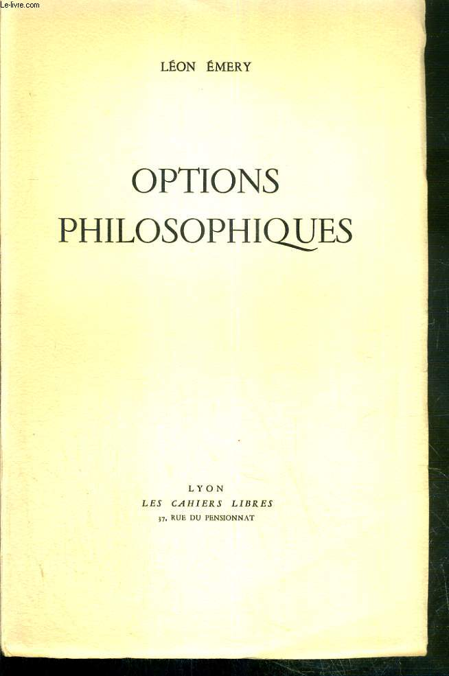 OPTIONS PHILOSOPHIQUES