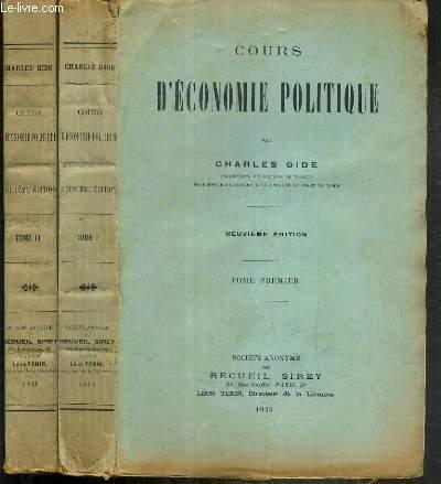 COURS D'ECONOMIE POLITIQUE - 2 TOMES - I + II