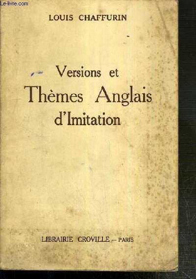 VERSIONS ET THEMES ANGLAIS D'IMITATION  - 14eme EDITION