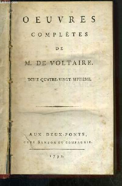 RECUEIL DES LETTRES DE M. DE VOLTAIRE - 2 TOMES EN 1 VOLUME - TOME 87. FEVRIER 1761 - 1762 - CORRESPONDANCE GENERALE TOME IX. / TOME 88. MAI 1762-OCTOBRE - CORRESPONDANCE GENERALE TOME X.