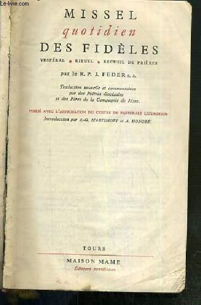 MISSEL QUOTIDIEN DES FIDELES VESPERAL - RITUEL - RECUEIL DE PRIERES  - N° 323 V.