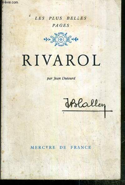 RIVAROL / COLLECTION LES PLUS BELLES PAGES.