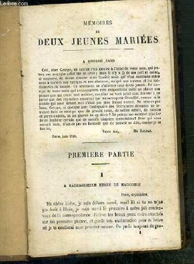 MEMOIRES DE DEUX JEUNE MARIEES