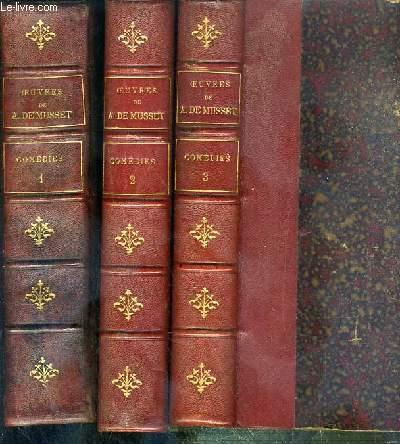 OEUVRES COMPLETES DE ALFRED DE MUSSET - 3 VOLUMES EN 3 TOMES - 3 + 4 + 5 - COMEDIES I + II + III - 4 photos disponibles.