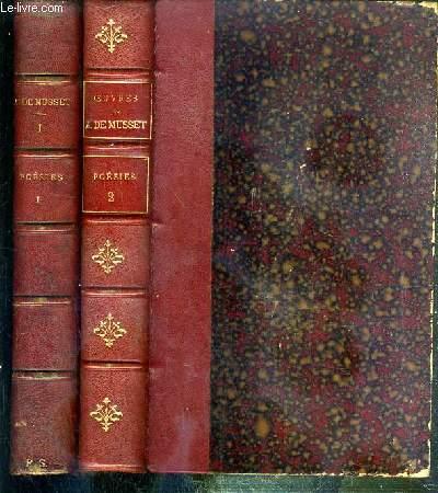OEUVRES COMPLETES DE ALFRED DE MUSSET - 2 VOLUMES EN 2 TOMES - 1 + 2 - POESIES - I + II