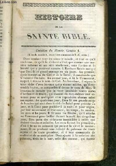 HISTOIRE DE SAINTE BIBLE
