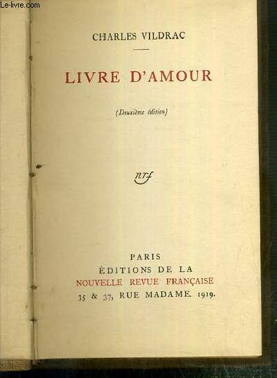 LIVRE D'AMOUR (DEUXIEME EDITION)
