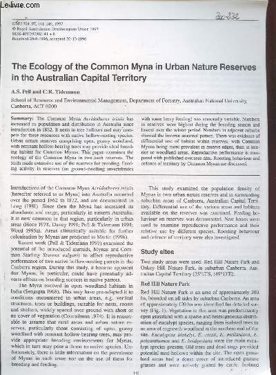 Tiré à part : EMU Vol.97 : The Ecology of the common myna in urban nature reserves in the australian capital territory