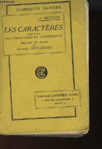 LES CARACTERES PRECEDES DES CARACTERES DE THOPHRASTE