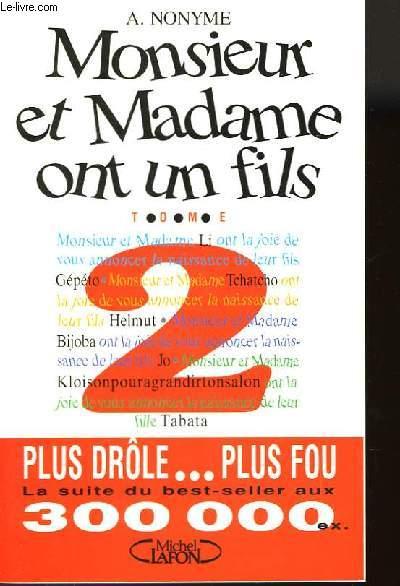 MONSIEUR ET MADAME ONT UN FILS - TOME 2