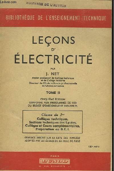 LECONS D'ELECTRICITE - TOME 2