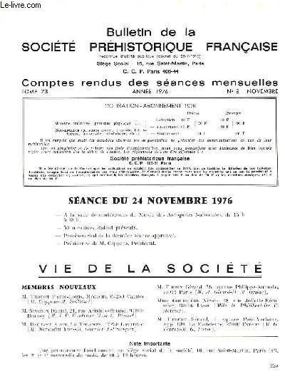BULLETIN DE LA SOCIETE PREHISTORIQUE FRANCAISE - COMPTES RENDUS DES SEANCES MENSUELLES - ANNEE 1976 -  TOME 73 - N°8