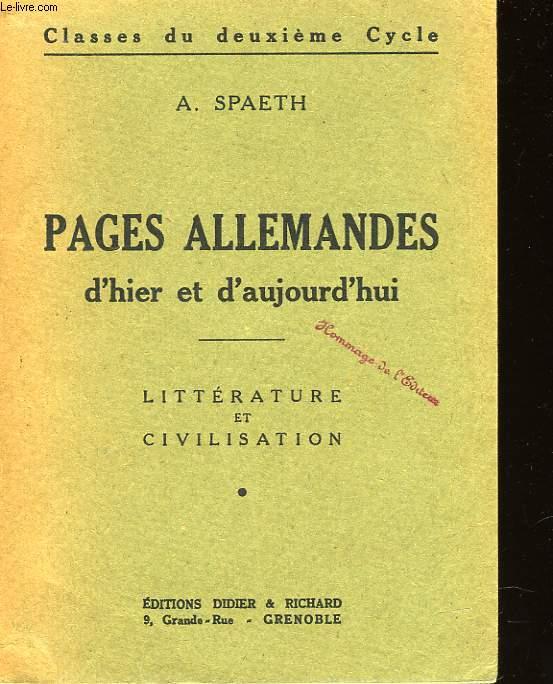 PAGES ALLEMANDES D'HIER ET D'AUJOURD'HUI