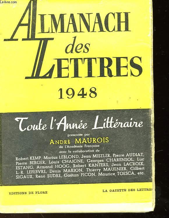 ALMANACH DES LETTRES 1948