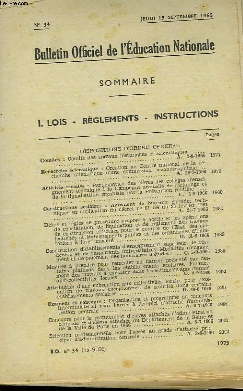 BULLETIN OFFICIEL DE L'EDUCATION NATIONALE N°34