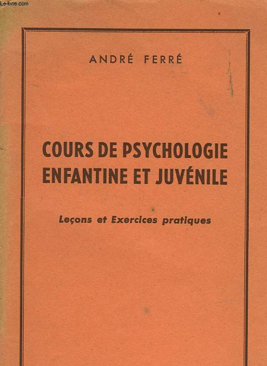 COURS DE PSYCHLOFIE ENFANTINE ET JUVENILE