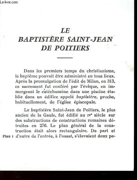 LE BAPTISTERE SAINT-JEAN DE POITIERS
