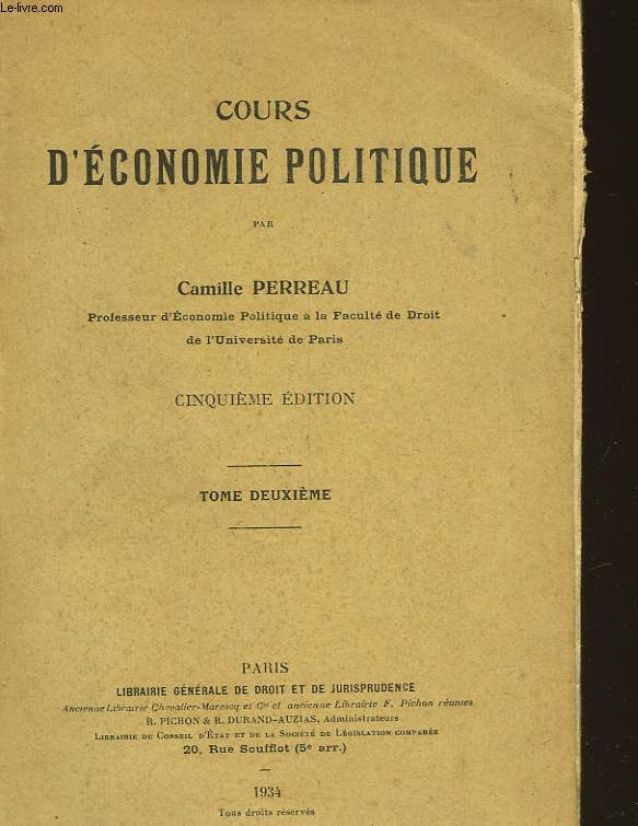 COURS D'ECONOMIE POLITIQUE - TOME 2