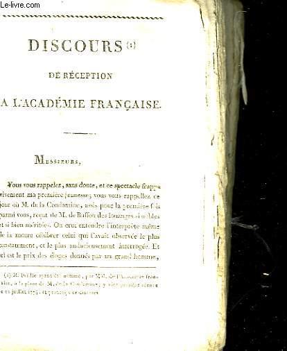 DISCOURS DE RECEPTION A L'ACADEMIE FRANCAISE - POESIES FUGITIVES