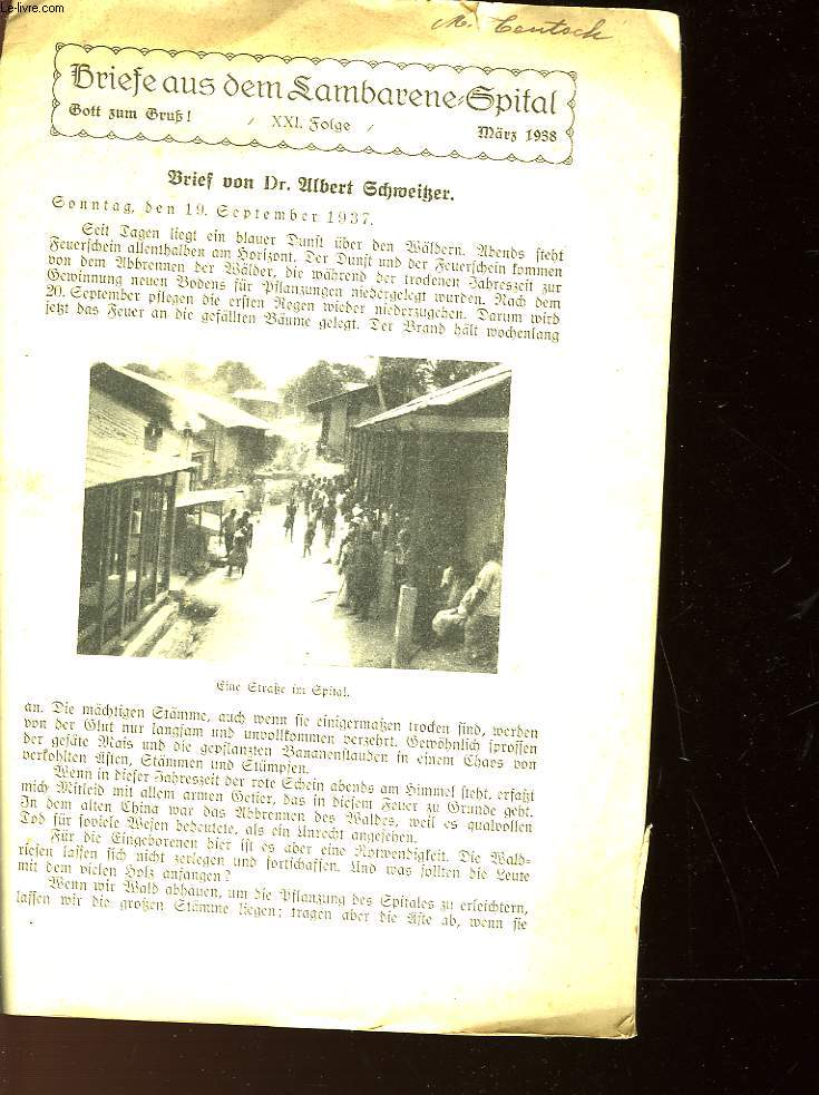 BRIEFE AUS DEM LAMBARENE SPITAL - MARS 1938