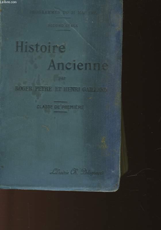 HISTOIRE ANCIENNE - SECOND CYCLE - CLASSE DE PREMIERE