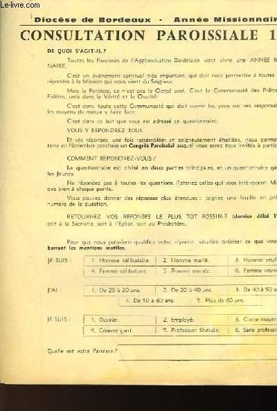 DIOCESE DE BORDEAUX - CONSULTATION PAROISSIALES 1961