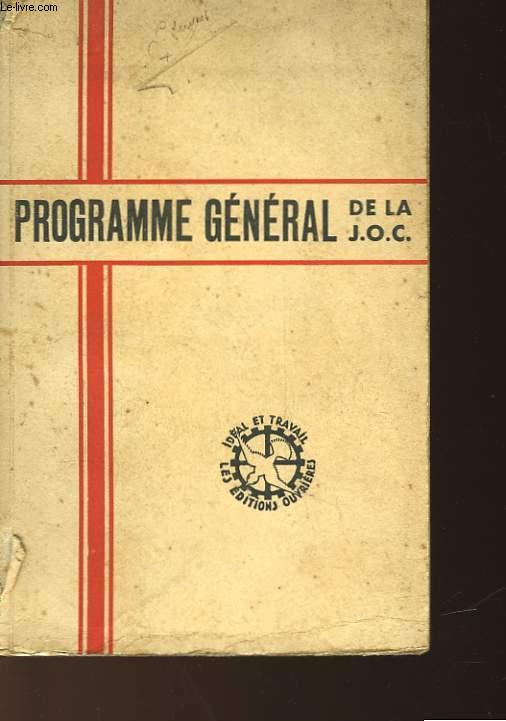 PROGRAMME GENERAL DE LA J.O.C.