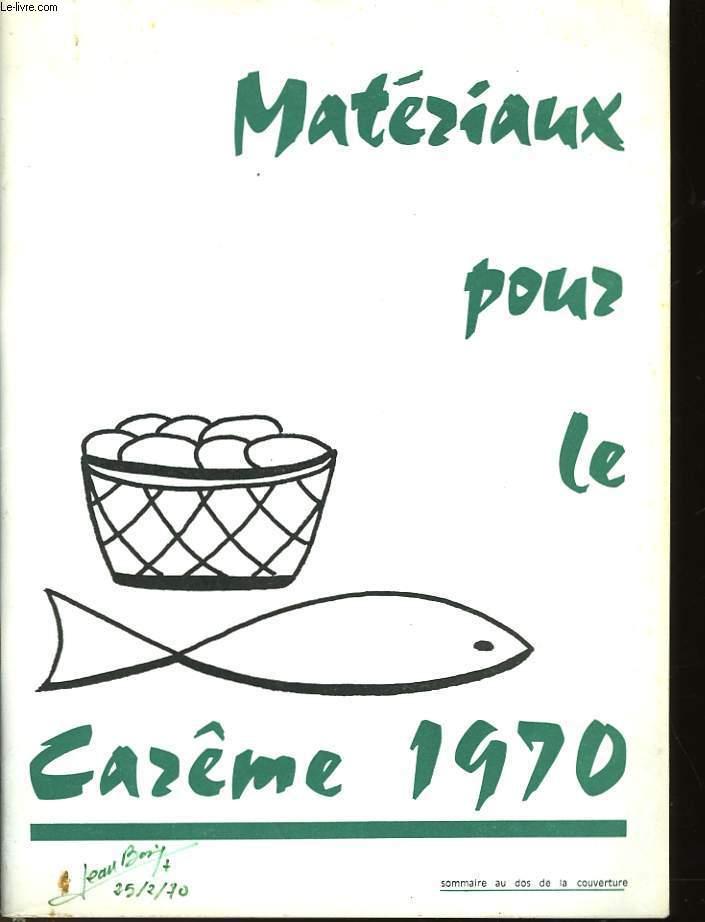 MATERIAUX POUR LE CAREME 1970