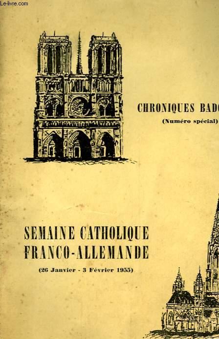 CHRONIQUES BADOISES - SEMAINE CATHOLIQUE FRANCO-ALLEMANDE - 29 JANVIER - 3  FEVRIER 1955