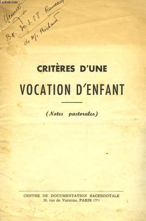 CRITERES D'UNE VOCATION D'ENFANT